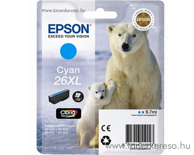 Epson 26XL eredeti cyan tintapatron T26324010 Epson Expression Premium XP-700 tintasugaras nyomtatóhoz