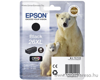 Epson 26XL eredeti fekete tintapatron T26214010 Epson Expression Premium XP-800 tintasugaras nyomtatóhoz