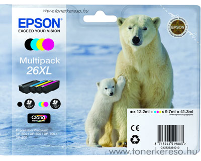 Epson 26XL eredeti multipack patroncsomag T26364010 Epson Expression Premium XP800 tintasugaras nyomtatóhoz