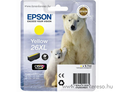 Epson 26XL eredeti yellow tintapatron T26344010 Epson Expression Premium XP-610 tintasugaras nyomtatóhoz