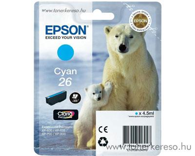 Epson 26 eredeti cyan tintapatron T26124010 Epson Expression Premium XP-810 tintasugaras nyomtatóhoz