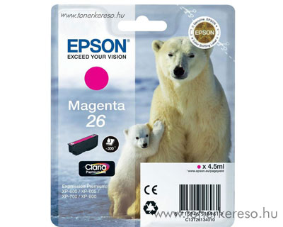 Epson 26 eredeti magenta tintapatron T26134010 Epson Expression Premium XP700 tintasugaras nyomtatóhoz
