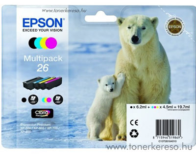 Epson 26 eredeti multipack patroncsomag T26164010 Epson Expression Premium XP800 tintasugaras nyomtatóhoz