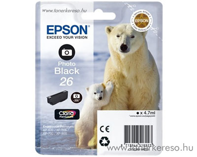 Epson 26 eredeti photo fekete tintapatron T26114010 Epson Expression Premium XP-810 tintasugaras nyomtatóhoz