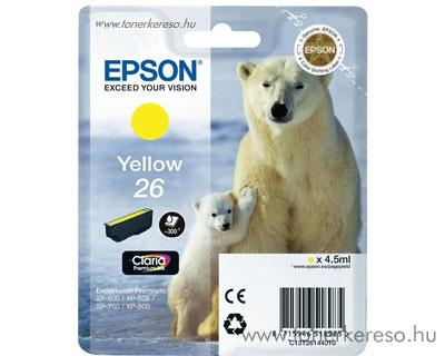 Epson 26 eredeti yellow tintapatron T26144010 Epson Expression Premium XP800 tintasugaras nyomtatóhoz