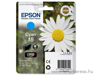 Epson T1802 (18) eredeti cyan tintapatron T18024010 Epson Expression Home XP-312 tintasugaras nyomtatóhoz