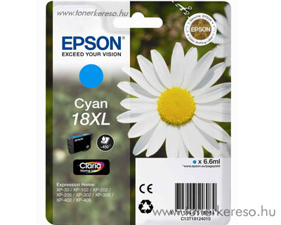Epson T1812 (18XL) eredeti nagykap. cyan tintapatron T18124010 Epson Expression Home XP-302 tintasugaras nyomtatóhoz