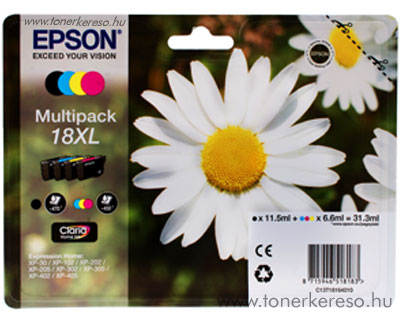 Epson T1816 (18XL) eredeti nagykap. multipack csomag T18164010 Epson Expression Home XP-202 tintasugaras nyomtatóhoz