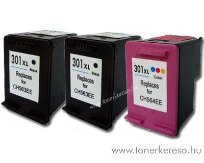 HP 301XL nagykap. utángyártott patroncsomag 2 fekete 1 színes 60 HP DeskJet D3050 J610a tintasugaras nyomtatóhoz