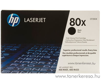 HP CF280X (No. 80X) eredeti nagykap. toner Bk fekete HP Laserjet Pro 400 M401 lézernyomtatóhoz