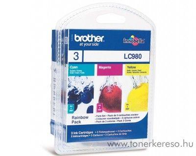Brother DCP-145 eredeti CMY tintapatron pack LC980RBWBP Brother DCP-167C tintasugaras nyomtatóhoz