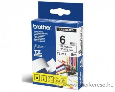 Brother eredeti TZe211 black-white szalag BRTZe211RB Brother P-Touch 2500PC mátrixnyomtatóhoz