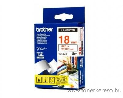 Brother eredeti TZe242 red-white szalag BRTZe242RB