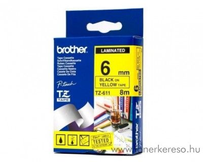 Brother eredeti TZe611 black-yellow szalag BRTZe611RB Brother P-Touch 1250J mátrixnyomtatóhoz