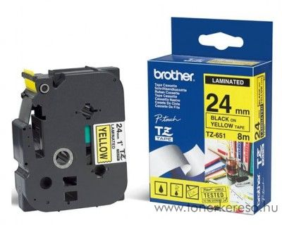 Brother eredeti TZe651 black-yellow szalag BRTZe651RB Brother P-Touch 2450DX mátrixnyomtatóhoz