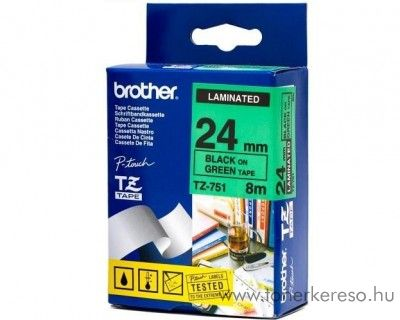 Brother eredeti TZe751 black-green szalag BRTZe751RB Brother P-Touch 2450DX mátrixnyomtatóhoz