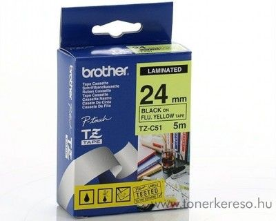 Brother eredeti TZeC51 black-yellow szalag BRTZeC51RB Brother P-Touch 2420PC mátrixnyomtatóhoz