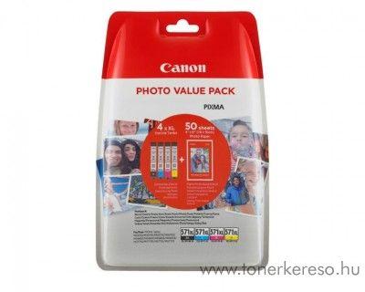 Canon CL571XL eredeti Bk/C/M/Y+50db fotópapír multipack 0332C005 Canon PiXMA MG6853 tintasugaras nyomtatóhoz