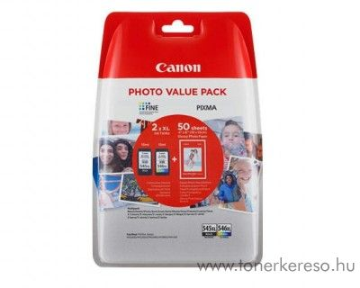 Canon PG545XL/CL546XL eredeti multipack + 50 fotópapír 8286B006 Canon PIXMA MG2555S tintasugaras nyomtatóhoz