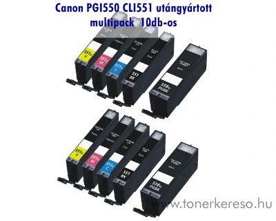 Canon PGI550/CLI551 XL 10db-os utángyártott tintapatron csomag,   Canon PIXMA MG7550  tintasugaras nyomtatóhoz