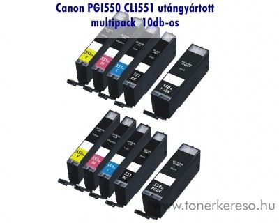 Canon PGI550/CLI551 XL 10db-os utángyártott tintapatron csomag,   Canon PIXMA iP8750  tintasugaras nyomtatóhoz