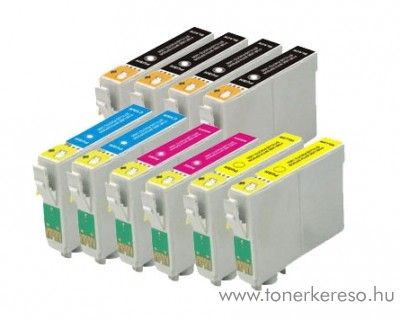 Epson T061 utángyártott multipack 4xBk 2xC 2xM 2xY 10db-os  Epson Stylus D68 tintasugaras nyomtatóhoz