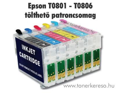 Epson T0801-T0806 utángyártott tölthető patroncsomag + tinta Epson Stylus Photo RX585 tintasugaras nyomtatóhoz