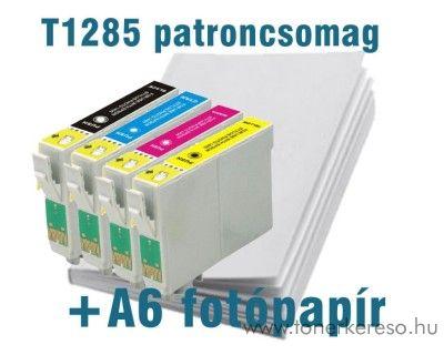 Epson T1285 utángyártott patroncsomag fotópapírral SX125/SX130/S Epson Stylus Office BX305F tintasugaras nyomtatóhoz
