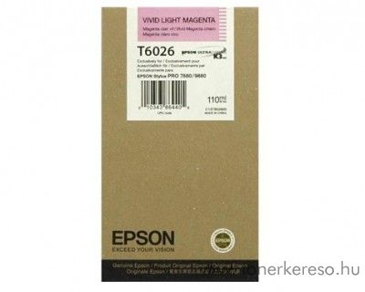 Epson T6026 eredeti photo light magenta tintapatron C13T602600 Epson Stylus Pro 7880 tintasugaras nyomtatóhoz