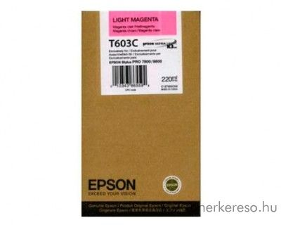 Epson T603C eredeti light magenta tintapatron C13T603C00 Epson Stylus Pro 9800 Xrite Eye One Pro Epson Edition tintasugaras nyomtatóhoz