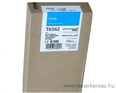 Epson T6362 eredeti cyan tintapatron C13T636200 Epson Stylus Pro 7890 SpectroProofer tintasugaras nyomtatóhoz