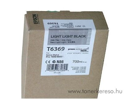 Epson T6369 eredeti light light black tintapatron C13T636900 Epson Stylus Pro 9890 SpectroProofer tintasugaras nyomtatóhoz