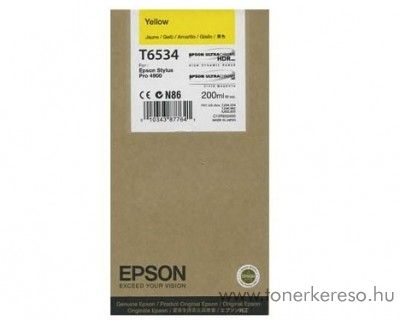 Epson T6534 eredeti yellow tintapatron C13T653400 Epson Stylus Pro 4900 SpectroProofer tintasugaras nyomtatóhoz