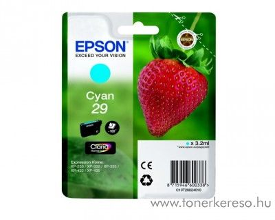Epson XP-235/335 (29) eredeti cyan tintapatron T29824010 Epson Expression Home XP-235 tintasugaras nyomtatóhoz