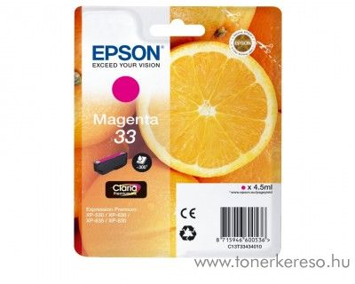 Epson XP-530 eredeti magenta tintapatron C13T33434010 Epson Expression Premium XP-630 tintasugaras nyomtatóhoz