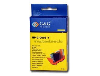 Canon CLI 8 yellow G&G tintapatron GGCLI8Y chip nélküli