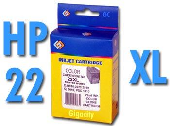 HP No. 22 XL extra nagy kapacítású 17ml!! kompatibilis patron HP DeskJet D1450 tintasugaras nyomtatóhoz