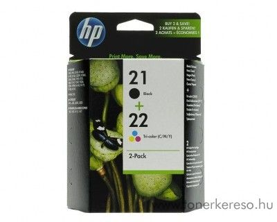 HP 21+22 eredeti fekete és színes tintapatron csomag SD367AE HP Deskjet F2180 tintasugaras nyomtatóhoz