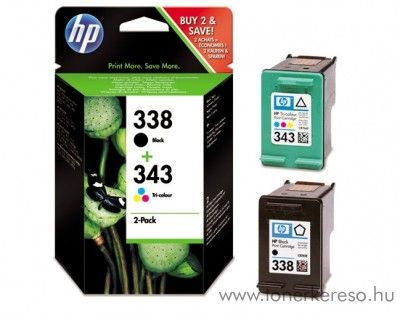 HP 338+343 eredeti fekete és színes tintapatron csomag SD449EE HP PSC 1500 tintasugaras nyomtatóhoz