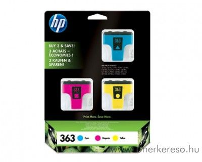 HP 363 eredeti CMY tripla tintapatron csomag CB333EE HP PhotoSmart C7283 tintasugaras nyomtatóhoz