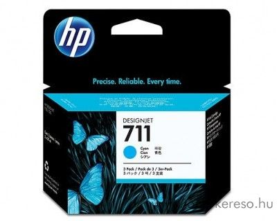 HP 711 eredeti cyan tripla tintapatron csomag CZ134A HP Designjet T120 tintasugaras nyomtatóhoz