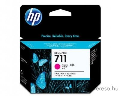 HP 711 eredeti magenta tripla tintapatron csomag CZ135A HP Designjet T120 tintasugaras nyomtatóhoz