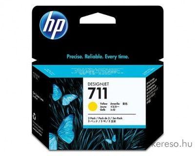 HP 711 eredeti yellow tripla tintapatron csomag CZ136A HP Designjet T520 tintasugaras nyomtatóhoz