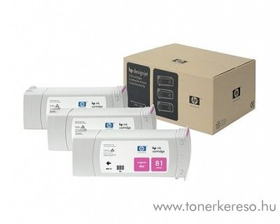 HP 81 eredeti magenta tripla tintapatron csomag C5068A HP DesignJet 5000 tintasugaras nyomtatóhoz
