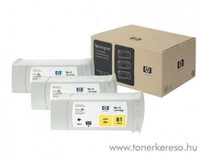 HP 81 eredeti yellow tripla tintapatron csomag C5069A HP DesignJet 5500ps tintasugaras nyomtatóhoz
