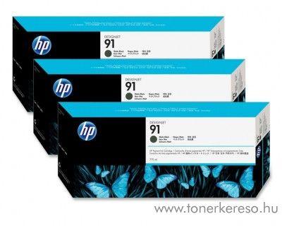 HP 91 eredeti matt fekete tripla tintapatron csomag C9480A HP Designjet Z6100ps tintasugaras nyomtatóhoz