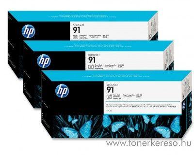 HP 91 eredeti photo fekete tripla tintapatron csomag C9481A HP Designjet Z6100ps tintasugaras nyomtatóhoz