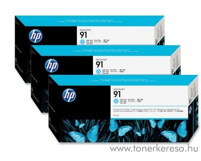 HP 91 eredeti vivera light cyan tripla tintapatron csomag C9486A HP Designjet Z6100 tintasugaras nyomtatóhoz