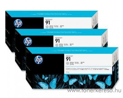 HP 91 eredeti vivera light grey tripla tintapatron csomag C9482A HP Designjet Z6100 tintasugaras nyomtatóhoz