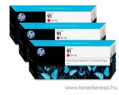 HP 91 eredeti vivera magenta tripla tintapatron csomag C9484A HP Designjet Z6100ps tintasugaras nyomtatóhoz